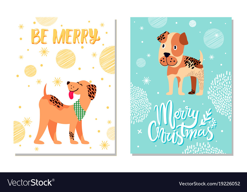 Merry christmas festive postcards with cute dogs Vector Image