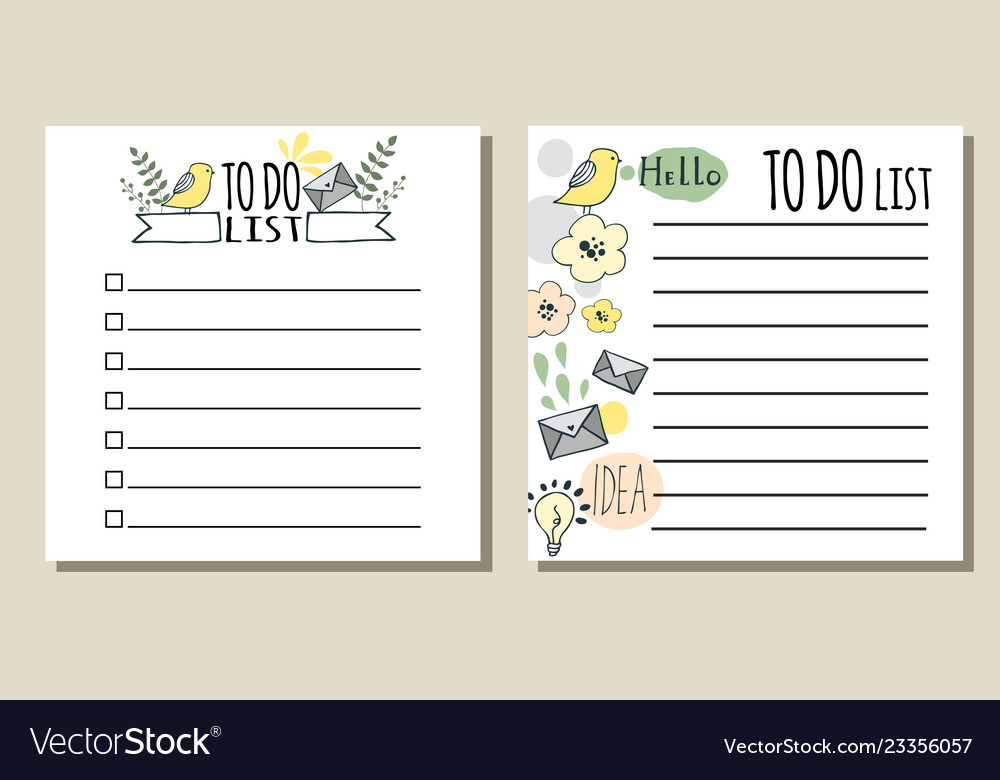 To do lists printable checklist Royalty Free Vector Image