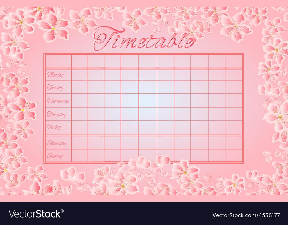 Timetable weekly schedule with sakura school timet