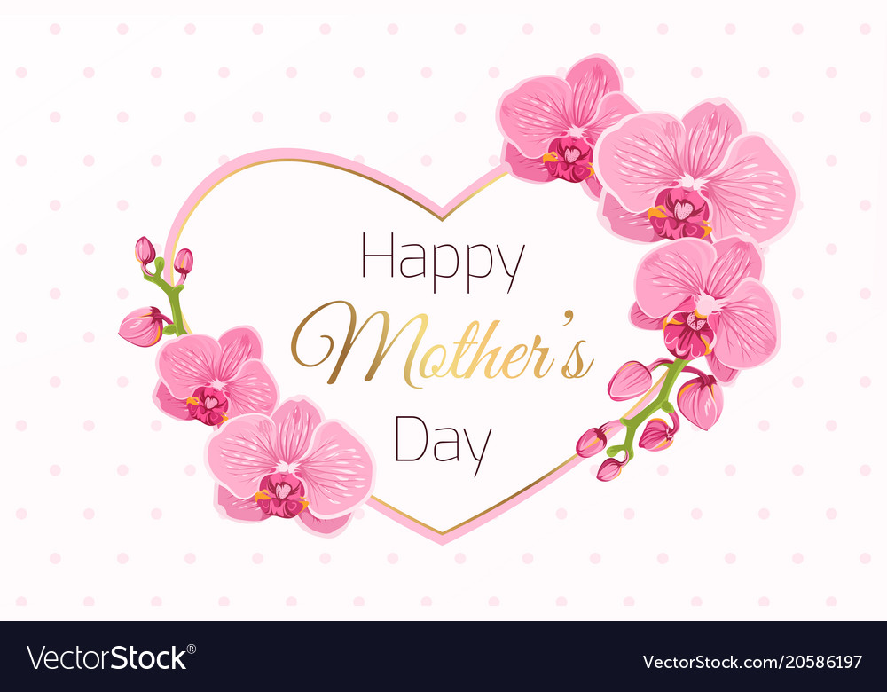Happy mothers day card pink orchid heart frame Vector Image