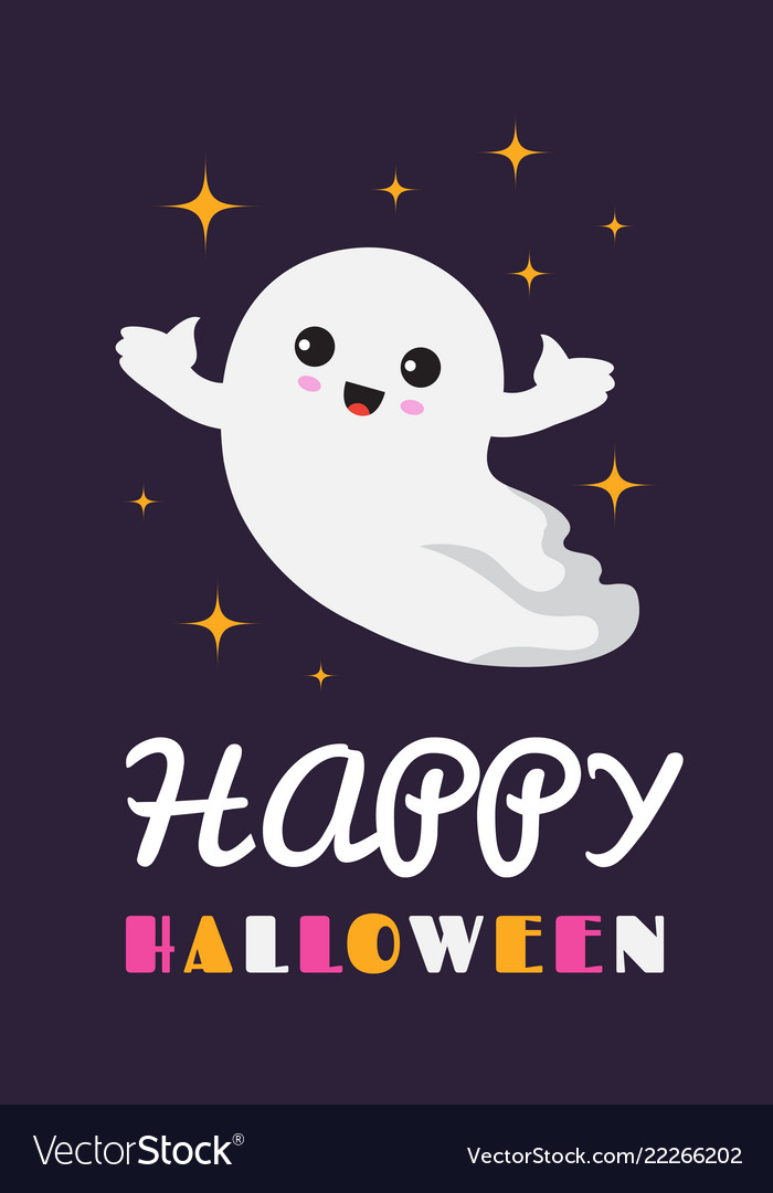 Happy halloween background cute ghost spooky Vector Image