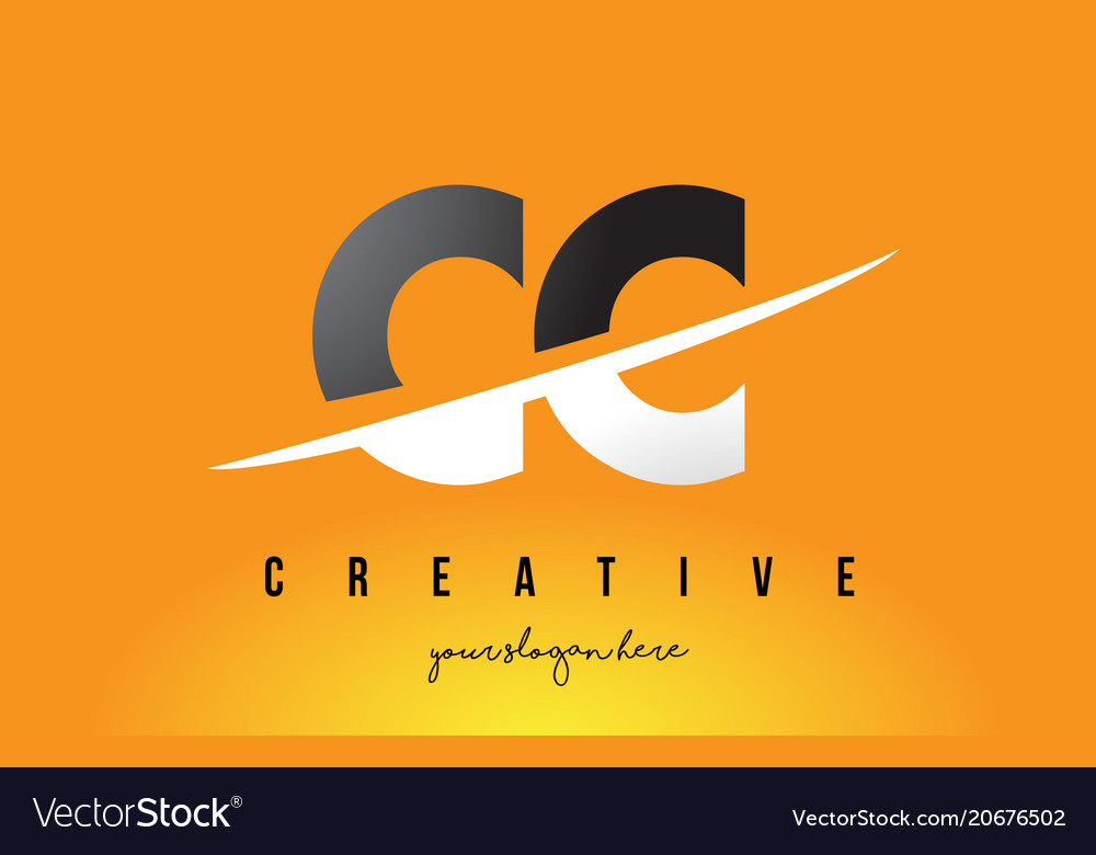 Cc c c letter modern logo design with yellow Vector Image