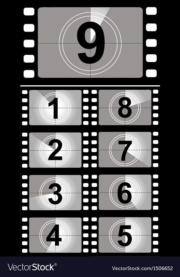 Film countdown numbers Royalty Free Vector Image