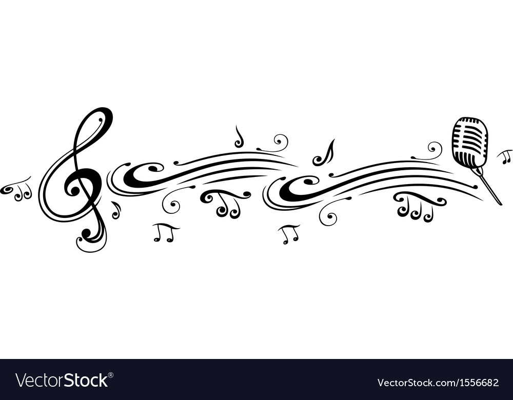 Clef music notes microphon Royalty Free Vector Image - clef music