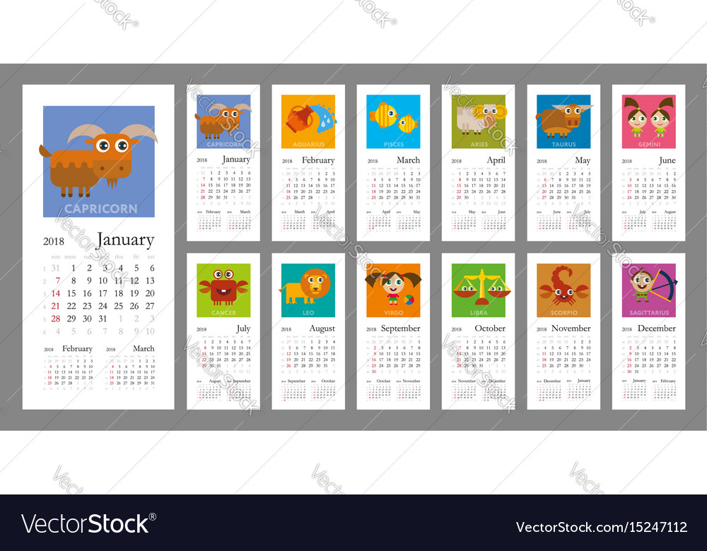 Calendar 2018 with zodiac signs Royalty Free Vector Image