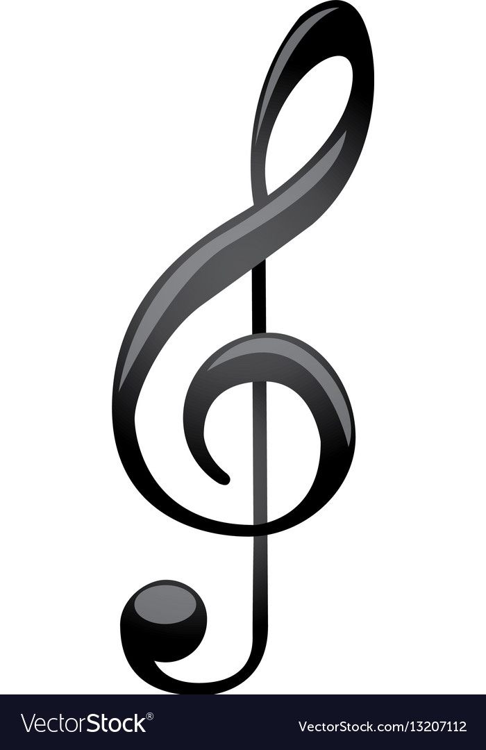 Monochrome silhouette with sign music treble clef Vector Image