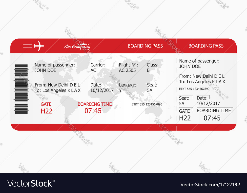 Airplane ticket boarding pass ticket template Vector Image - boarding pass template