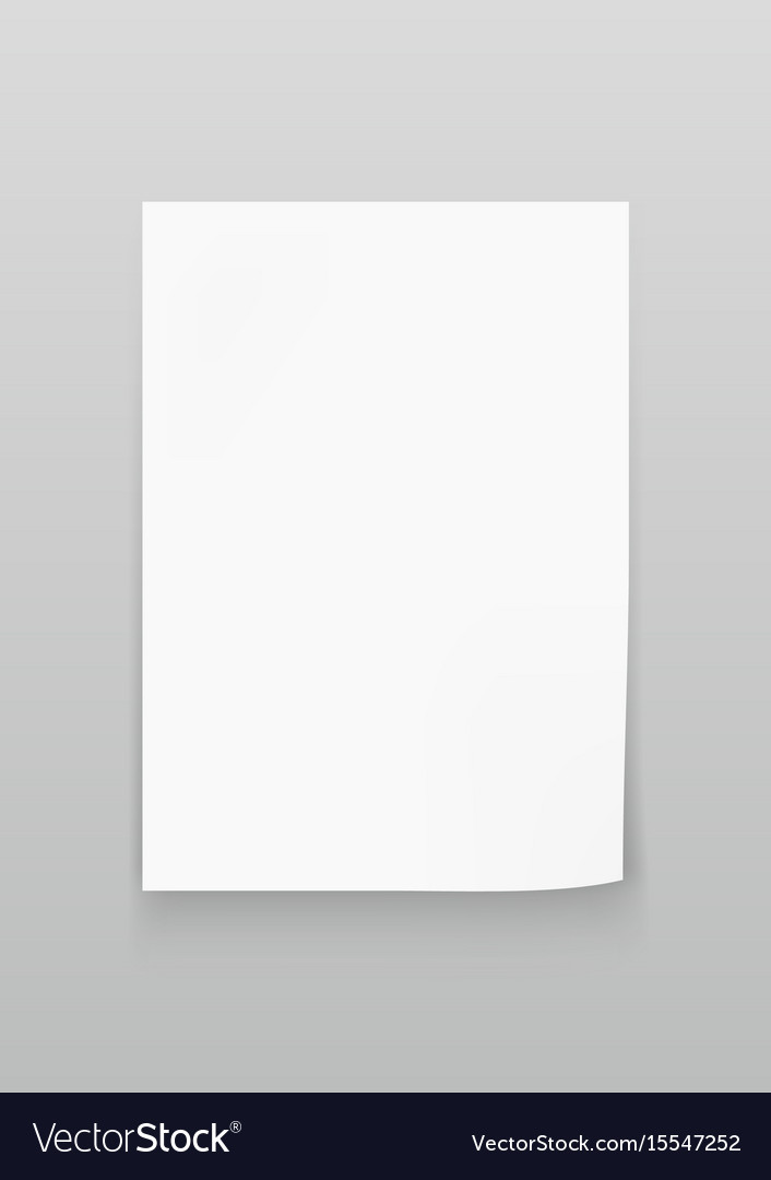 White sheet of paper a4 size Royalty Free Vector Image