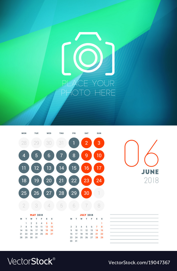 Wall calendar template for june 2018 design print Vector Image