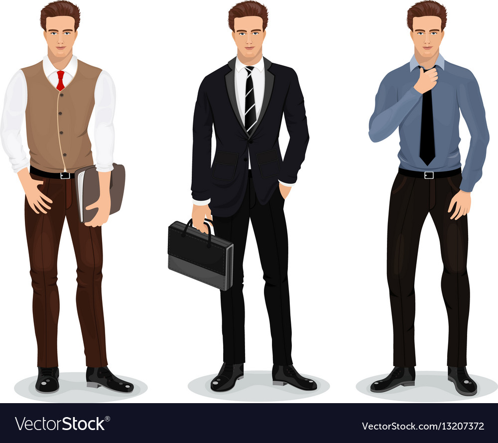 Stylish Clothes Men In Stylish Clothes Set Of Businessmen Vector Image On Vectorstock