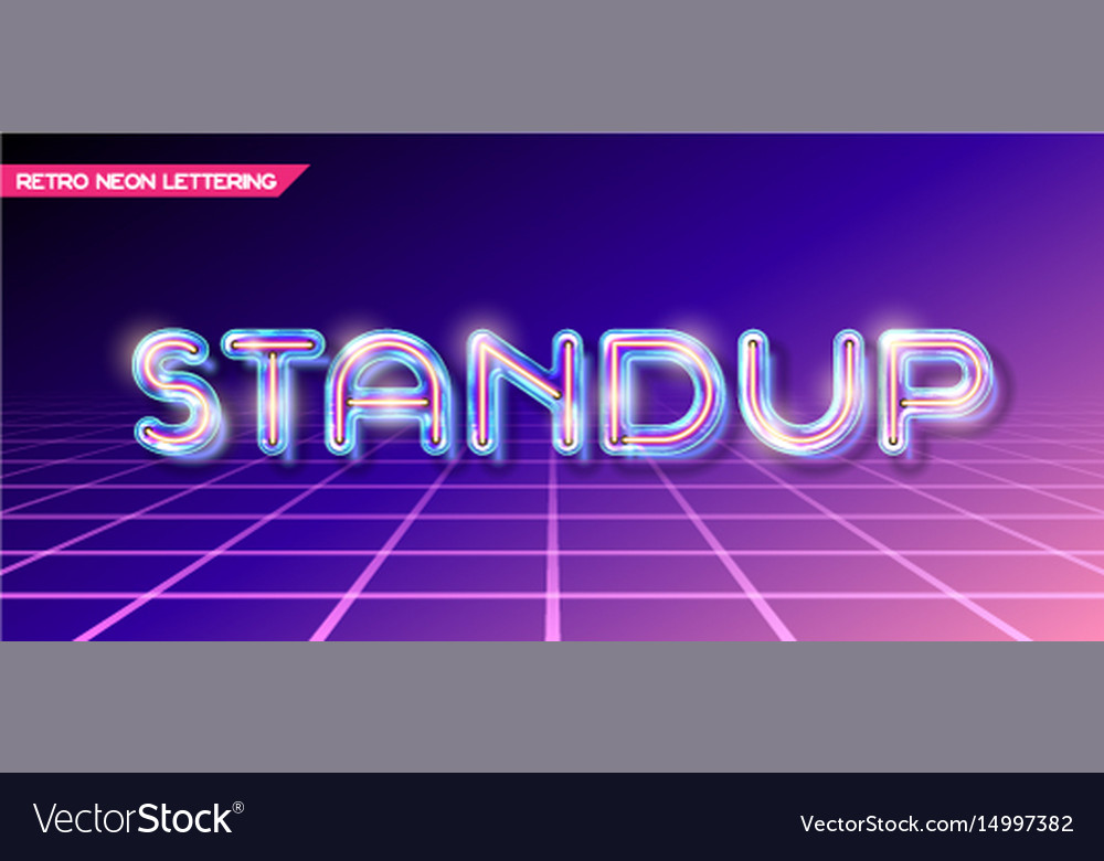 Retro glass neon lettering Royalty Free Vector Image