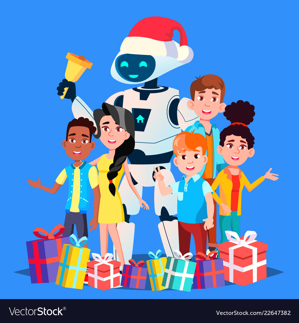 Children Robot Robot In Santa Claus Hat And Gifts With Children