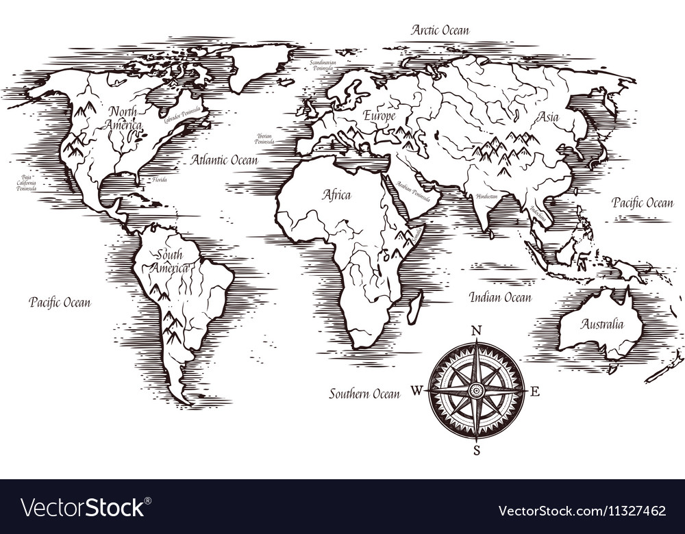 Sketch World Map Template Royalty Free Vector Image