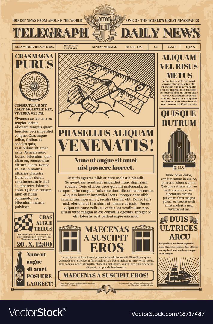 Old newspaper template retro newsprint Royalty Free Vector - old newspaper template
