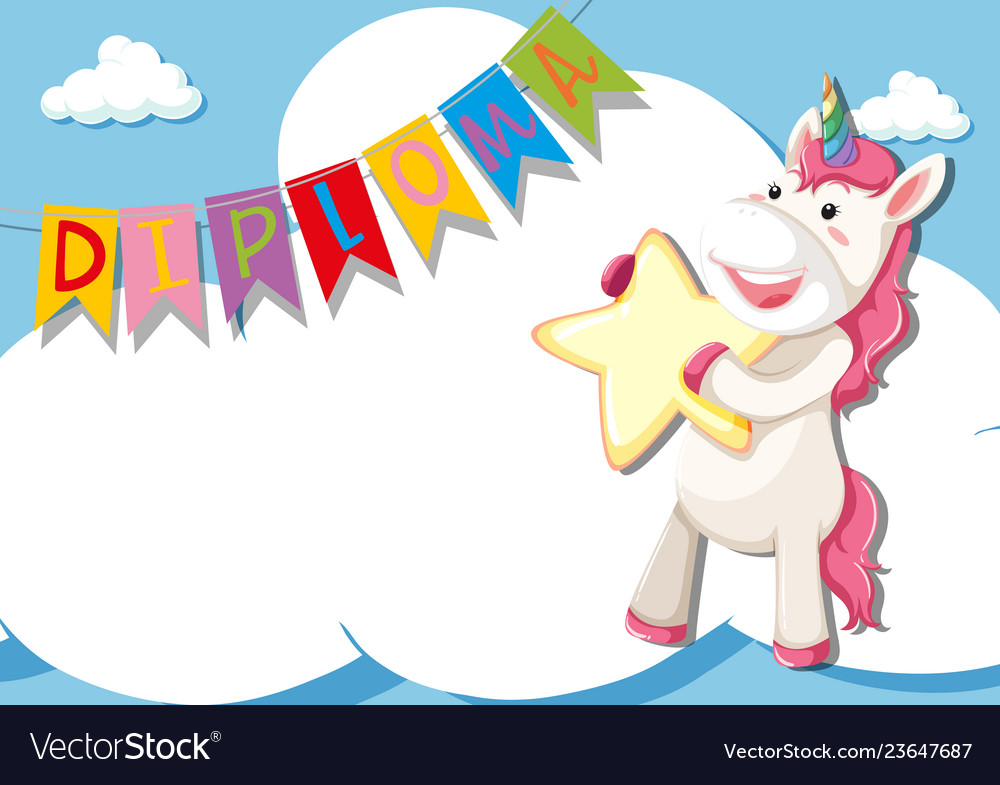 Unicorn on diploma certificate template Royalty Free Vector