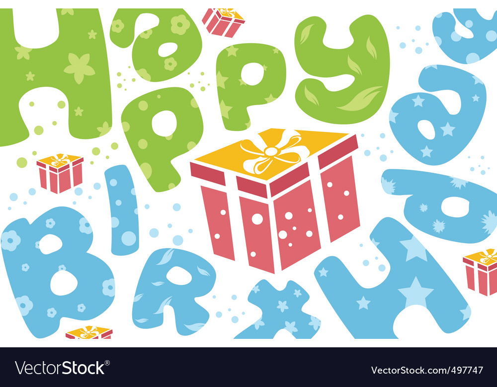Happy birthday card with present Royalty Free Vector Image