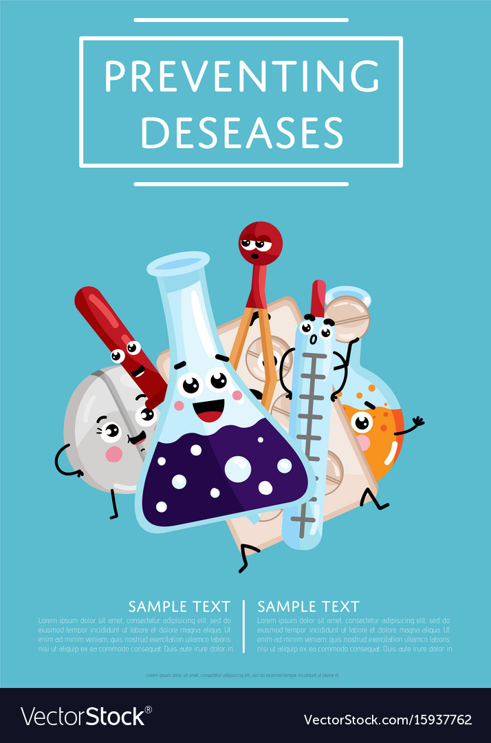 Preventing diseases poster with medical characters