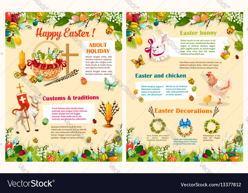 Easter spring holidays brochure template design Vector Image