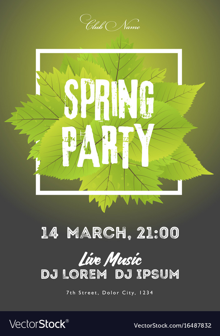 Spring night club party flyer invitation poster Vector Image