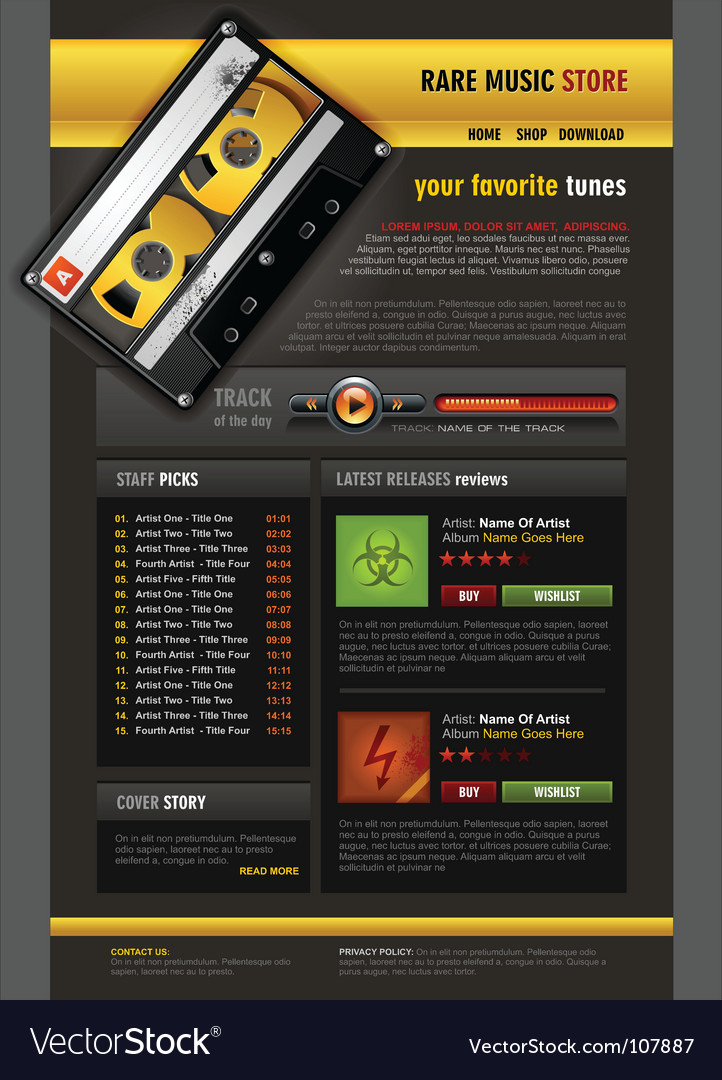 Music store brochure Royalty Free Vector Image