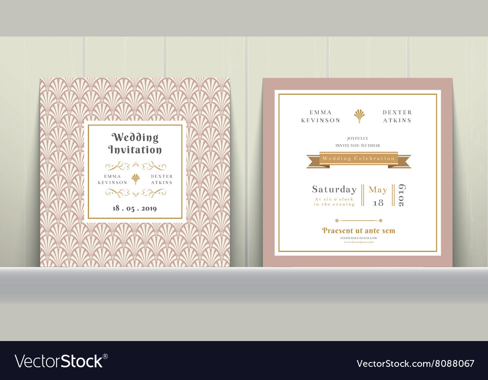 Art Deco Wedding Invitation Card in Gold and Pink Vector Image