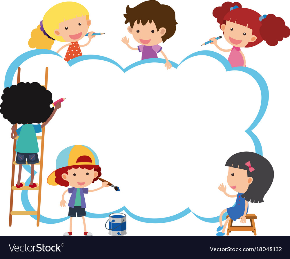 Cute Boy Cartoon Wallpaper Border Template With Happy Kids Painting Vector Image
