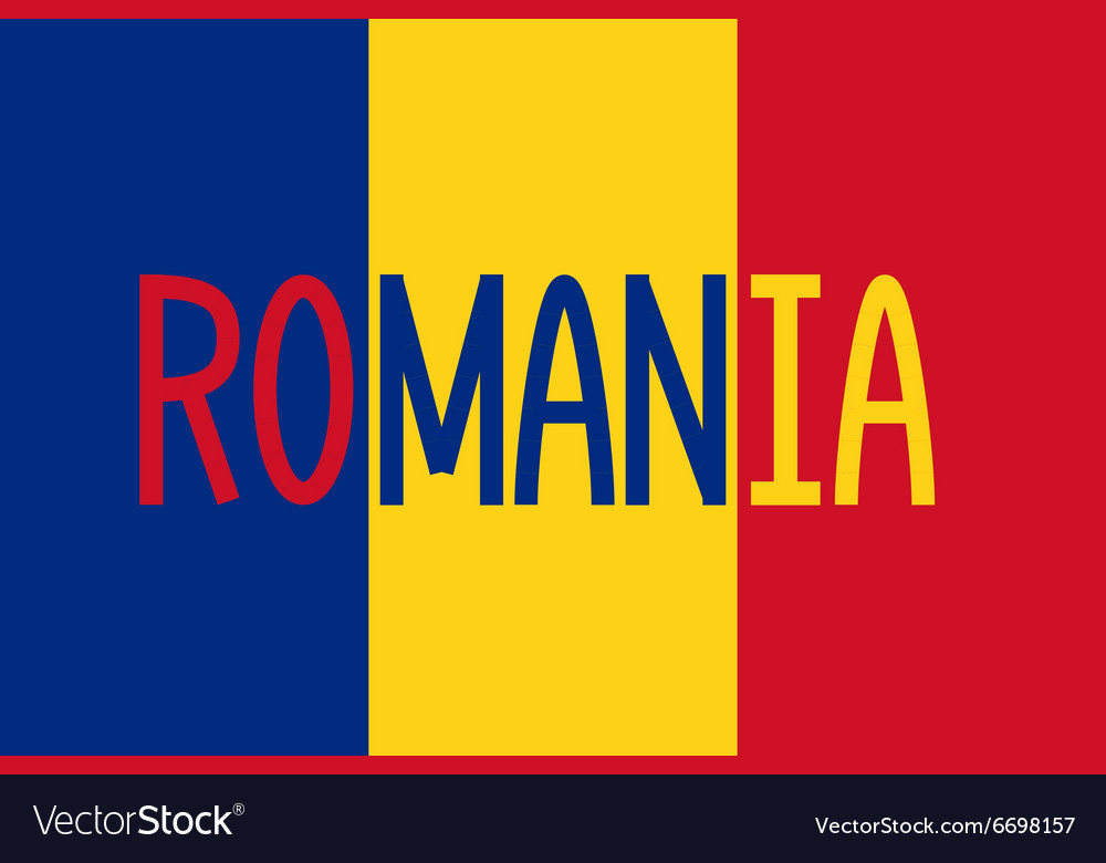 Romanian flag and word Romania Royalty Free Vector Image - word flag