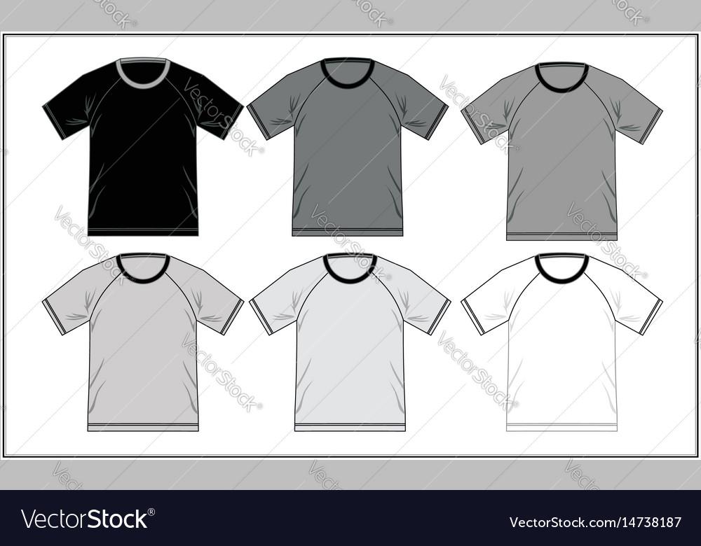 T shirt template raglan black white Royalty Free Vector