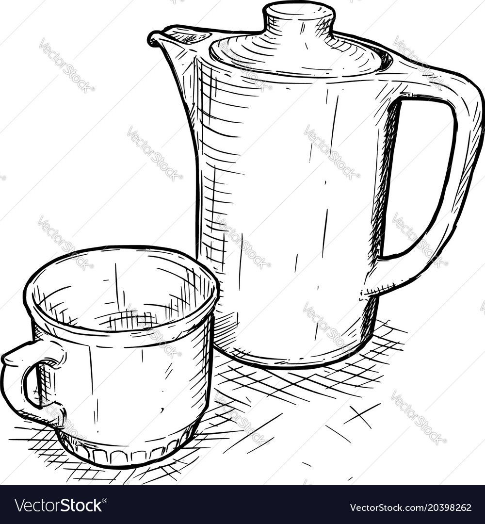 Teapot With Cup Hand Drawing Of Teapot And Cup