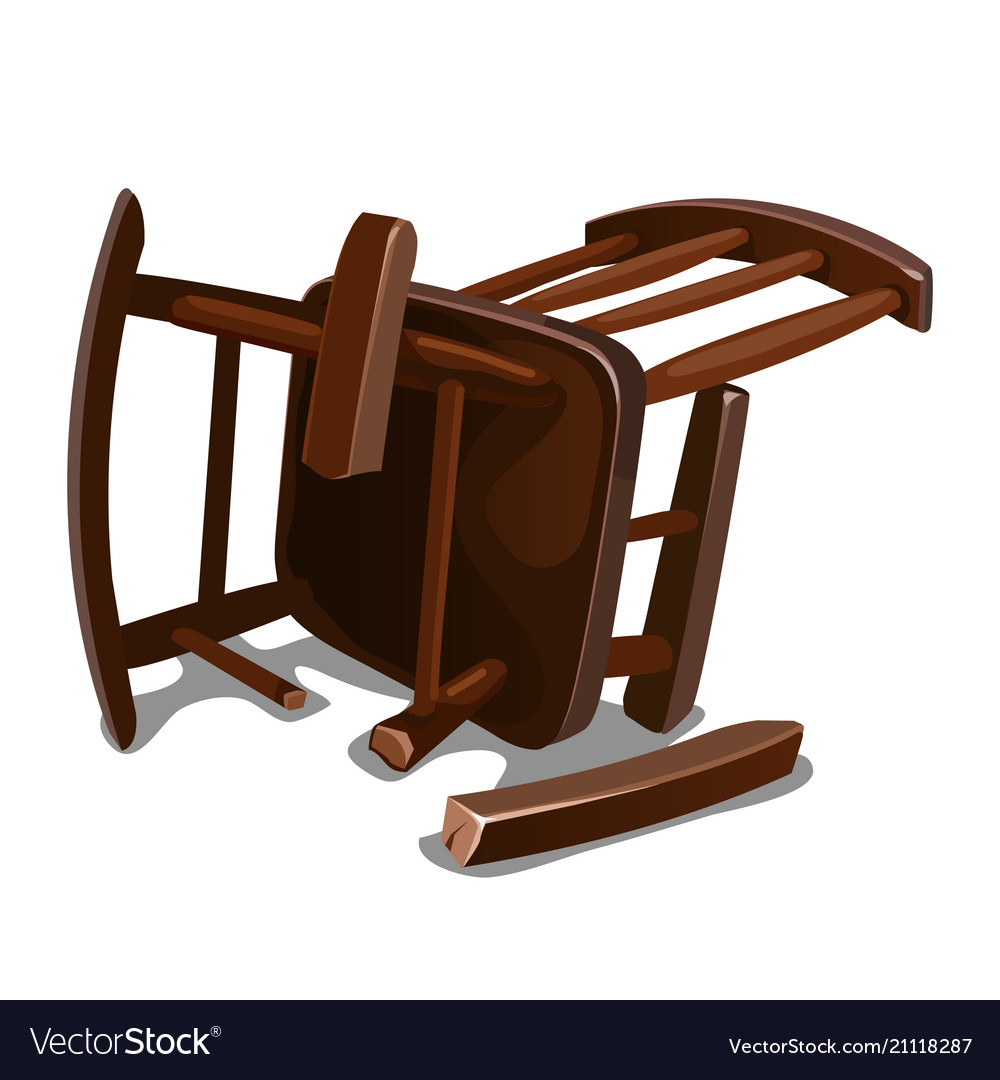 Wood Rocking Chair A Broken Old Wooden Rocking Chair Isolated On