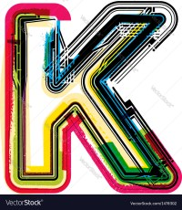 Colorful Grunge font LETTER K Royalty Free Vector Image