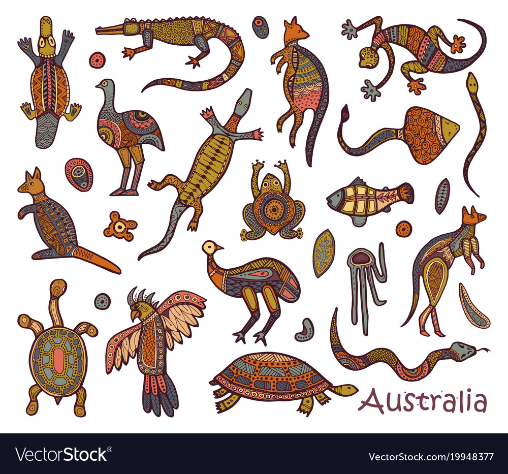 Australian Animals Drawings Animals Drawings Aboriginal Australian Style Vector Image