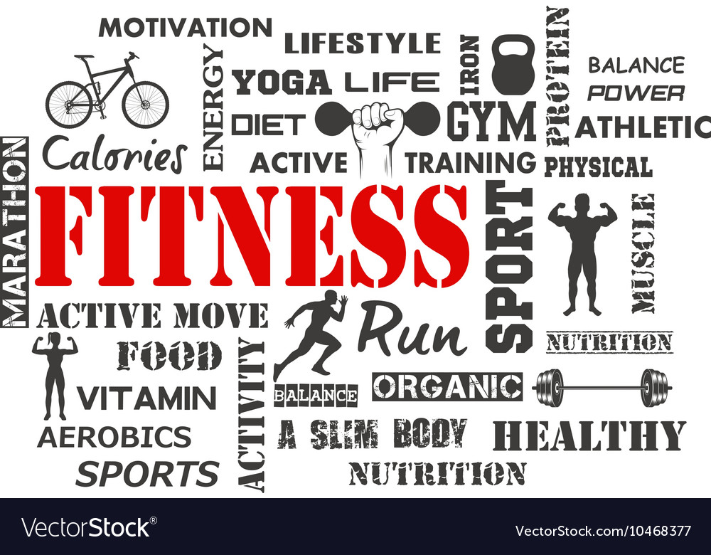 Fitness and Healthy Exercise Word Royalty Free Vector Image