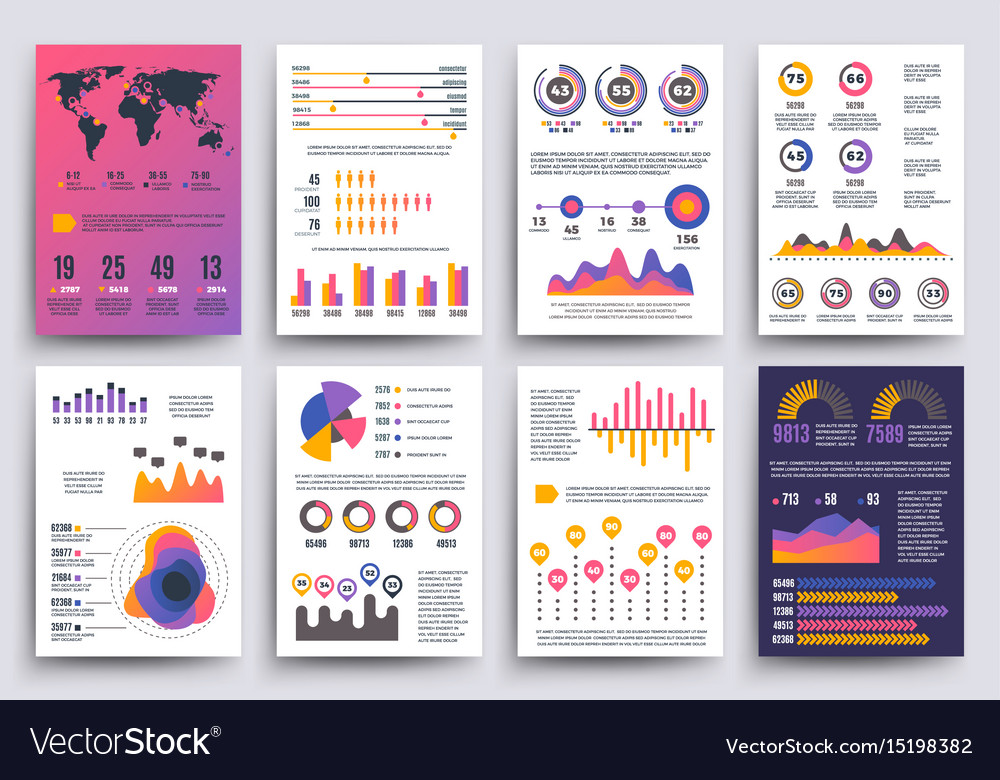 Graphical business report template with Royalty Free Vector