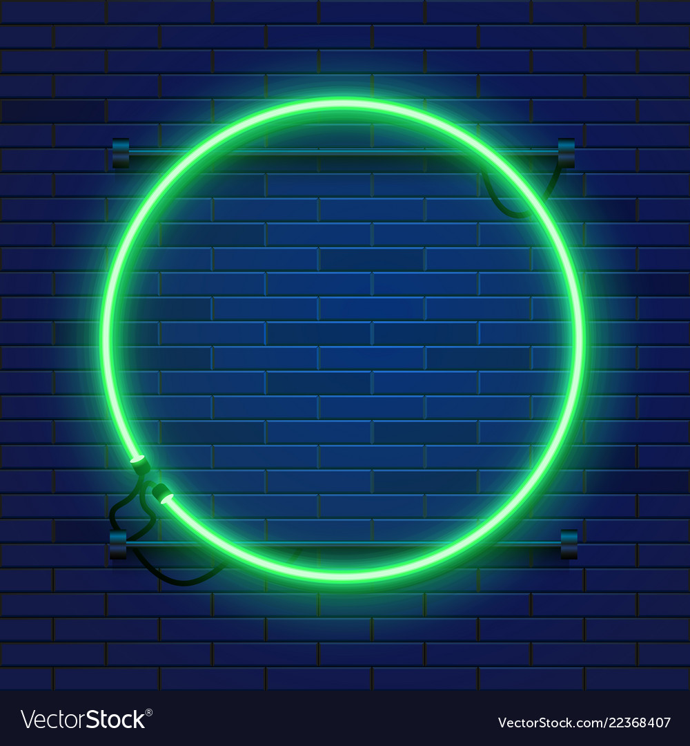 Neon Lamp Neon Lamp Circle Frame On Brick Wall Background