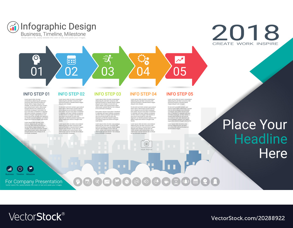 Milestone timeline infographics template Vector Image - advertising timeline template