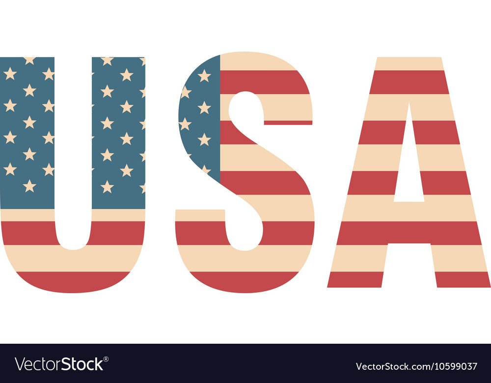 Usa word flag Royalty Free Vector Image - VectorStock - word flag