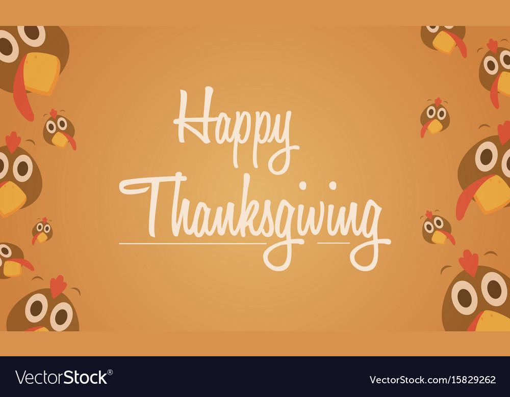 Happy thanksgiving card with turkey background Vector Image