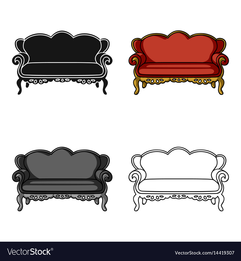Vintage Couch Vintage Sofa Icon In Cartoon Style Isolated On Vector Image On Vectorstock
