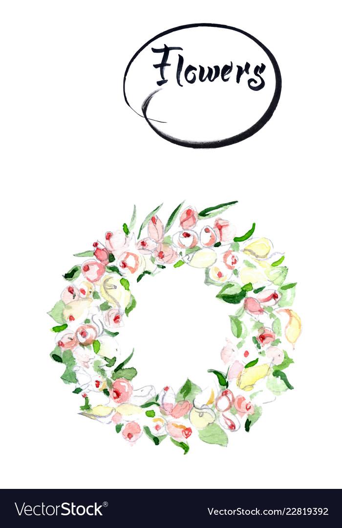 Rose flower wreath floral circle border frame Vector Image