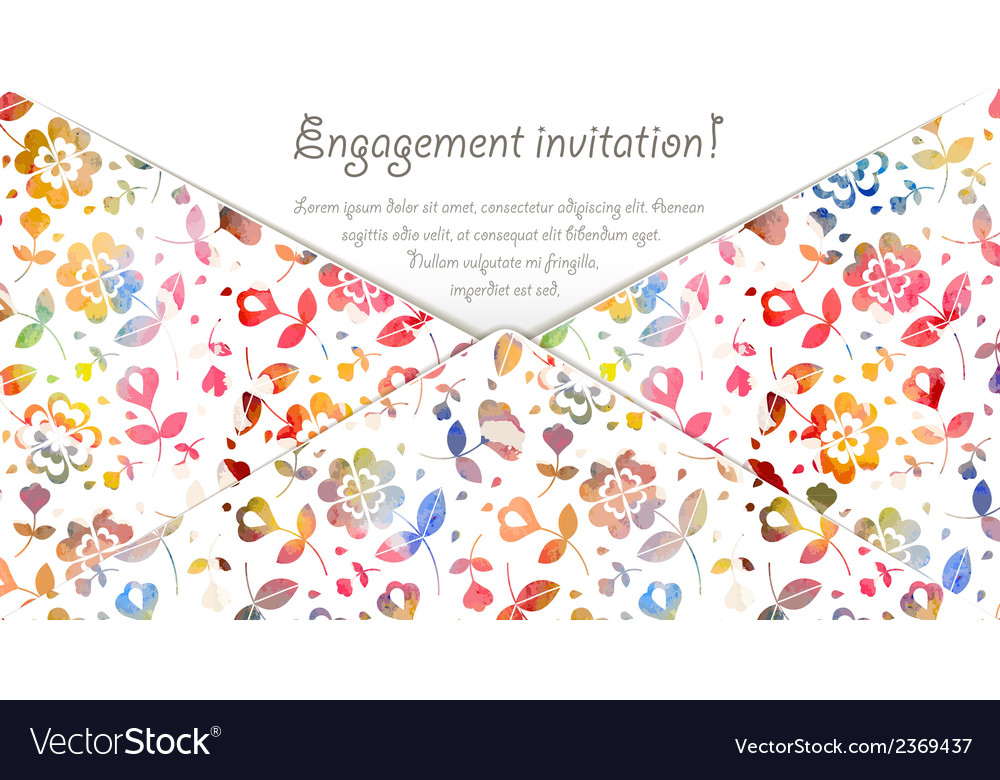 Engagement invitation card with watercolor flowers