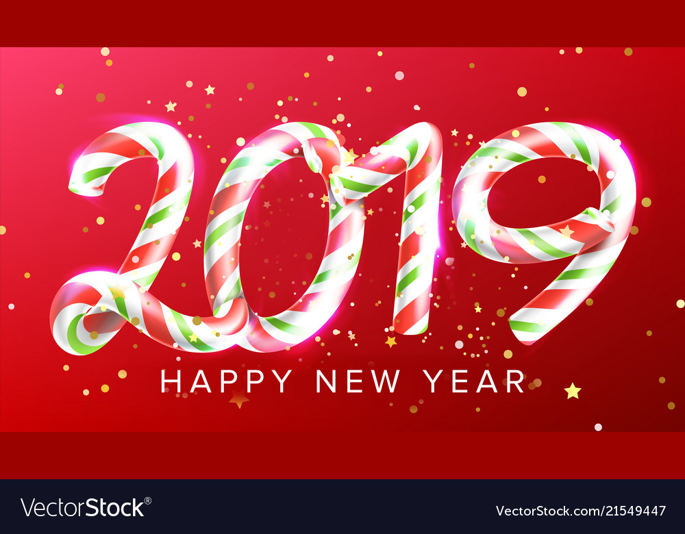 2019 happy new year background numbers Royalty Free Vector