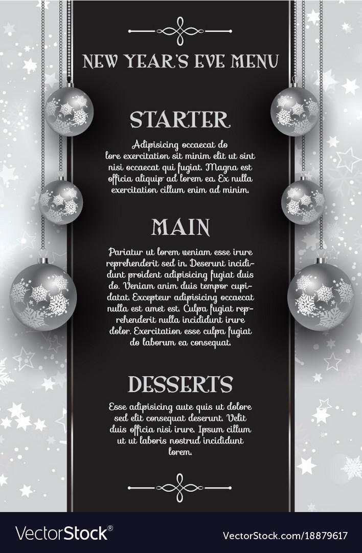 New years eve menu design Royalty Free Vector Image