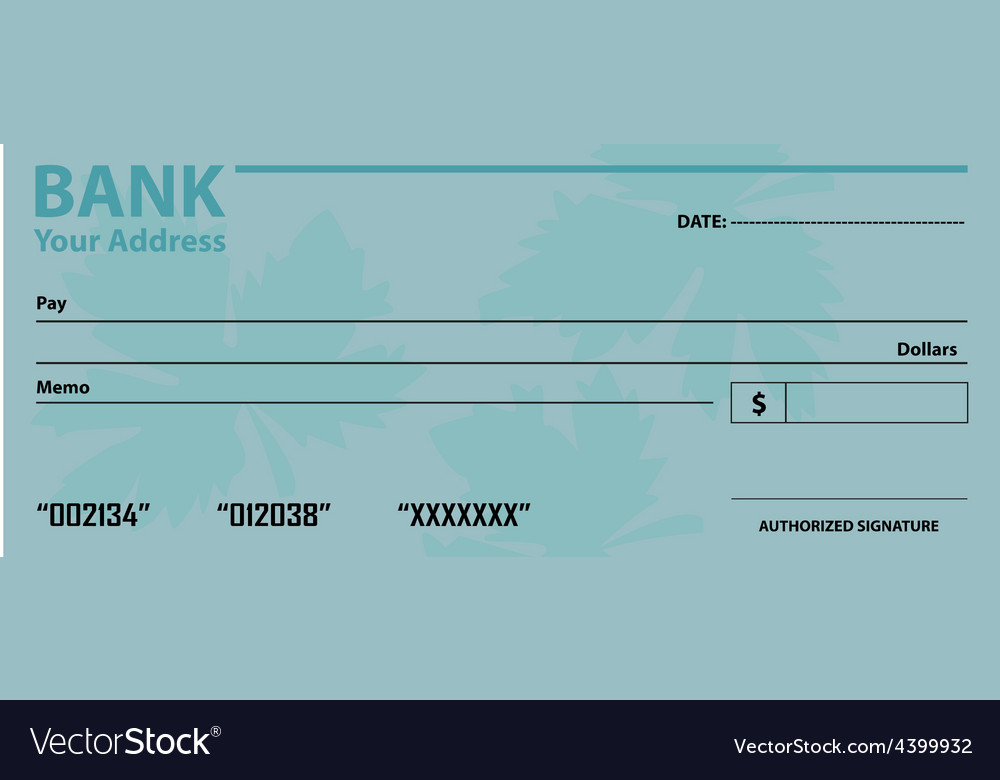 Bank check template Royalty Free Vector Image - VectorStock