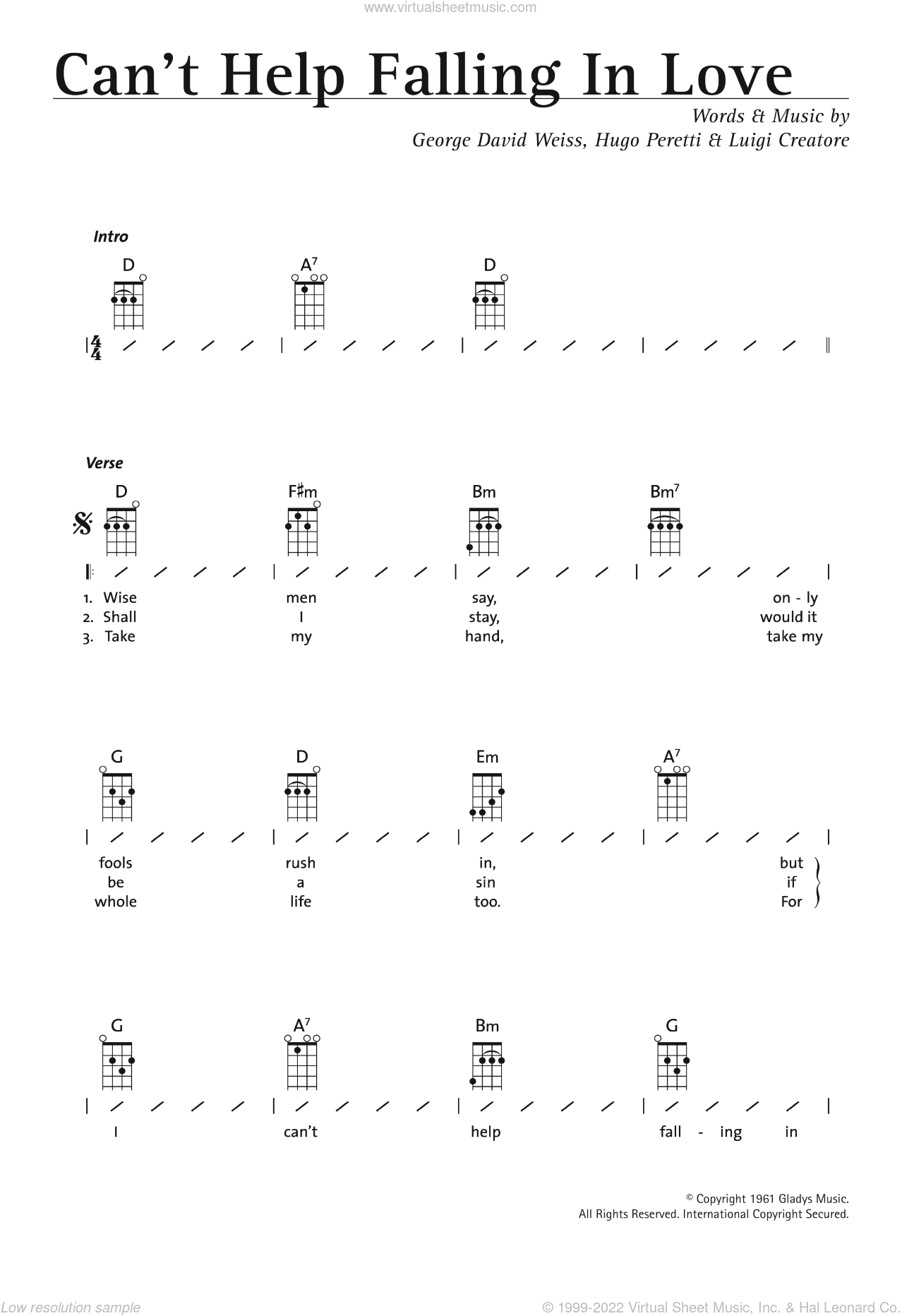 Falling In Love Ub40 Can T Help Falling In Love Sheet Music For Ukulele Chords