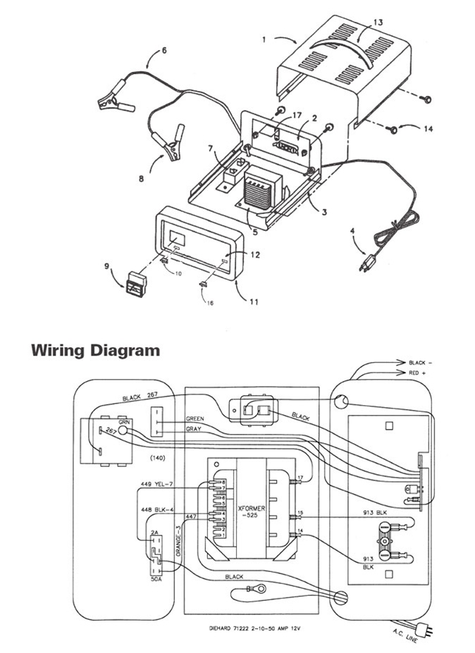 wiring diagram for sears battery charger