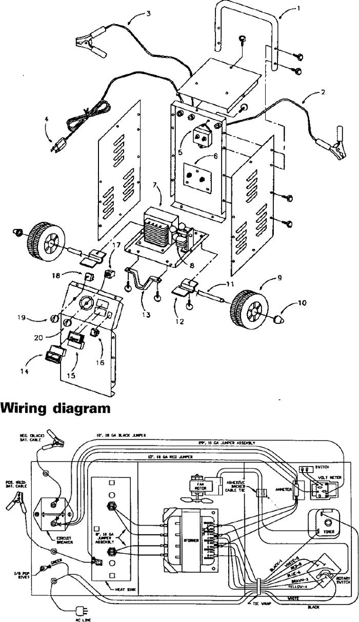 handle power cord wiring diagram and parts list for diehard battery