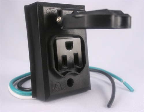 Add-On Lamp Post Outlet, Black