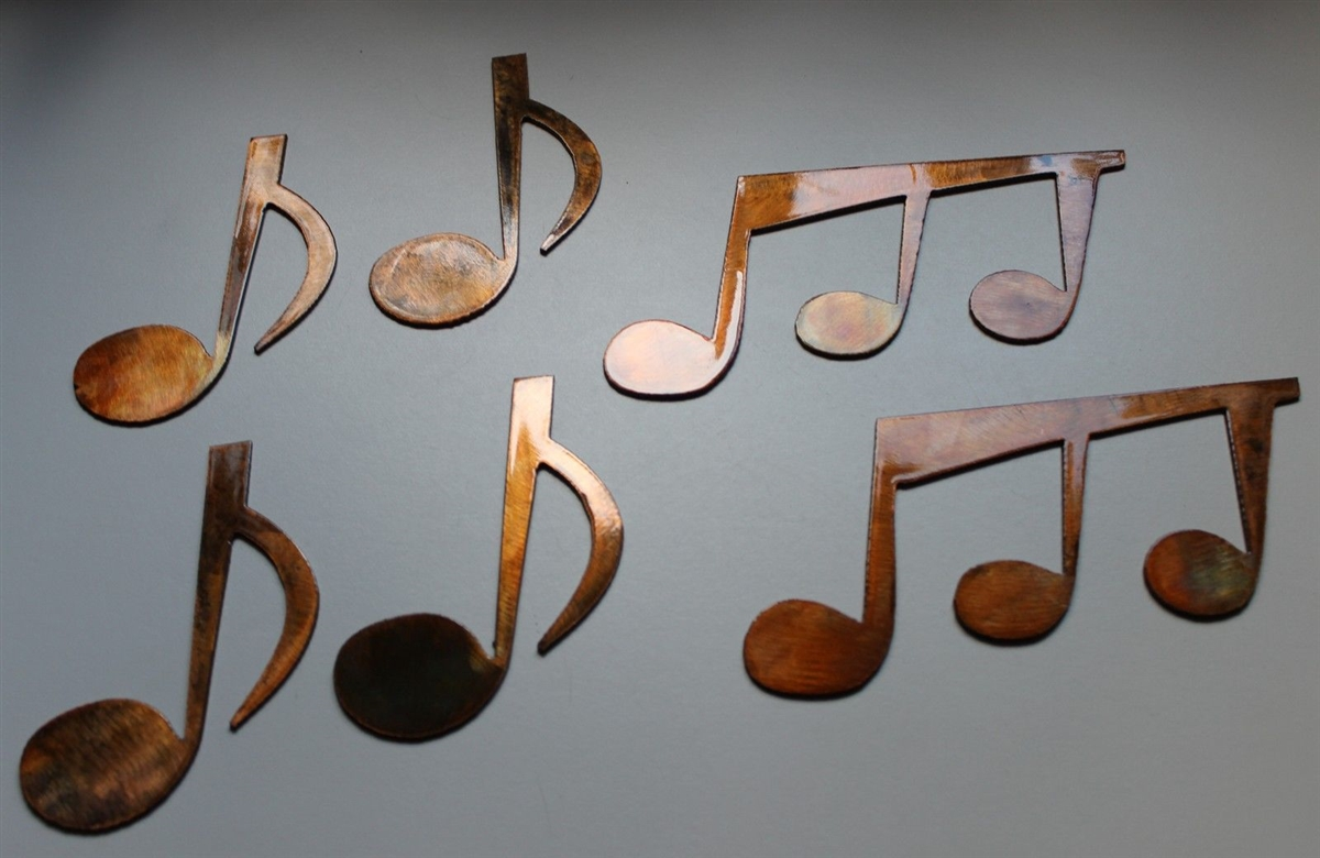 Music Notes Metal Wall Art Music Notes Set Of 6 Metal Wall Art Copper Bronze Plated