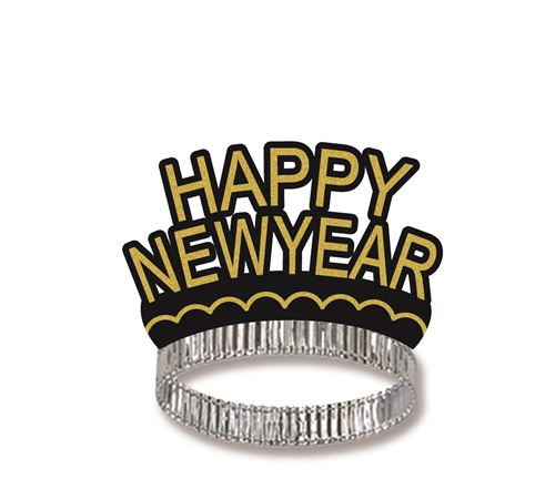 Happy New Year Black  Gold Crown Tiara New Year\u0027s Eve Party